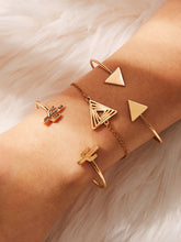 Load image into Gallery viewer, Golden 3pcs Triangle & Cactus Metal Design Cuff Bracelet