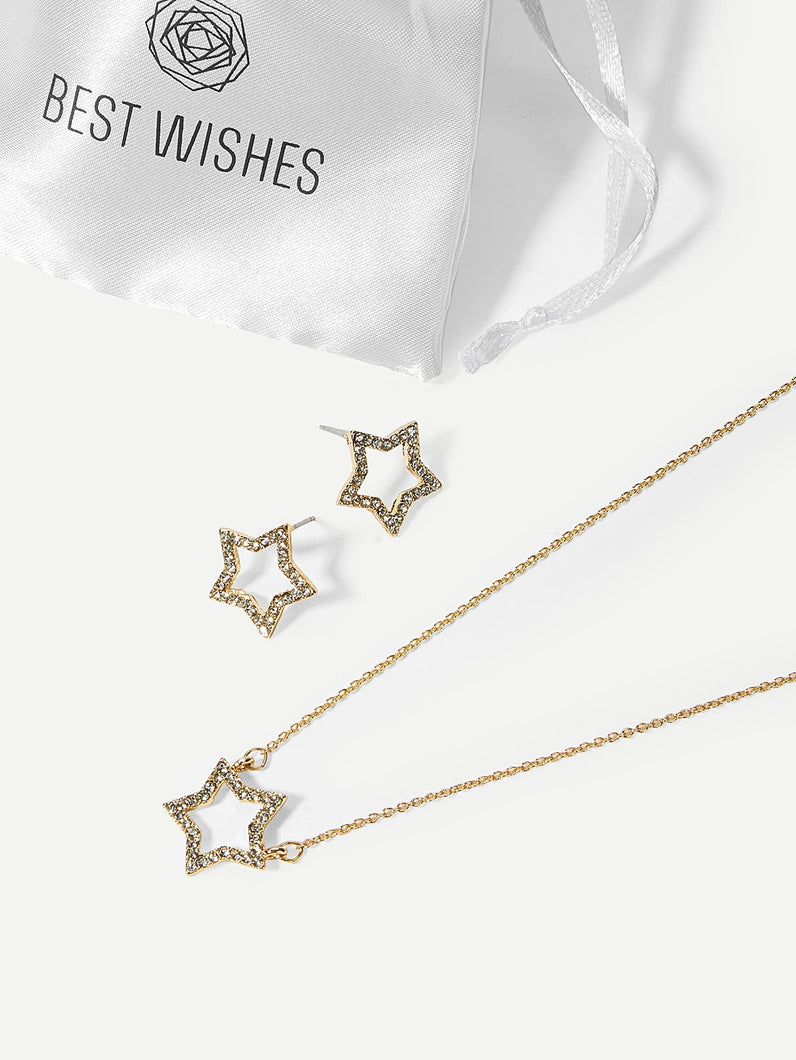 Rhinestone Gold Metal Star Pendant Necklace & Stud Earrings