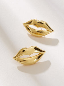 Golden Lips Shaped 1 Pair Stud Earrings