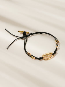 Black 1pc Shell & Bead Metal Decor Bracelet