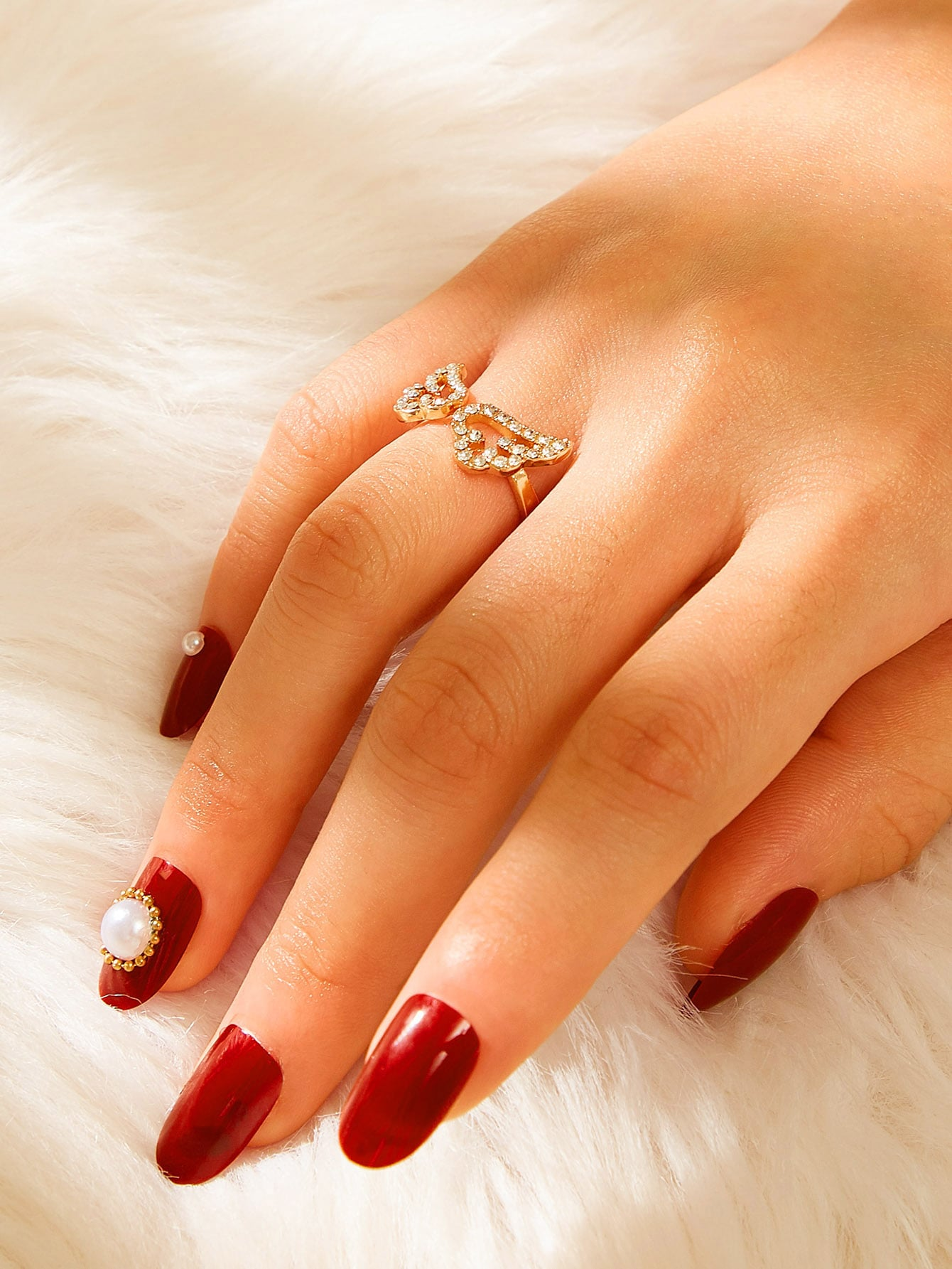 Golden Wing Rhinestone Engraved 1pc Ring