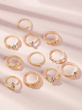 Load image into Gallery viewer, Golden Rhinestone Engraved 11pcs Ring