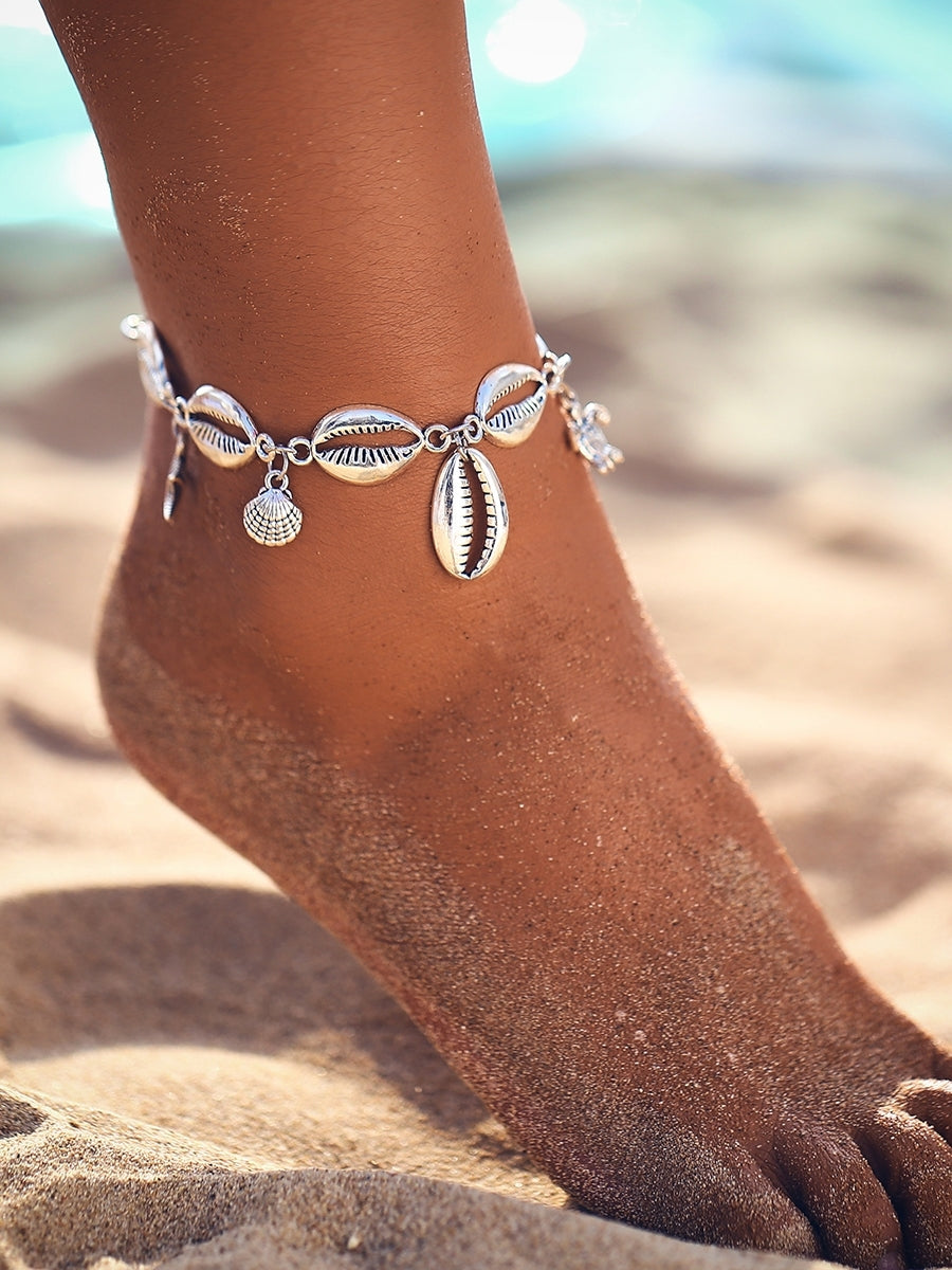 1pc Grey Shell Charm Anklet