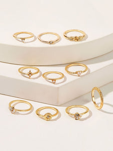 Golden Engraved Faux Pearl Ring 10pcs