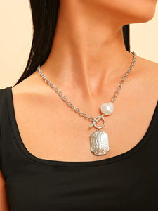 Silver Faux Pearl & Bar Charm Irregular 1pc Chain Necklace