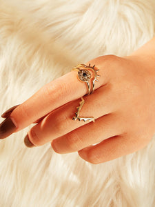 Golden Flower Engraved 3pcs Triangle Shaped Alloy Rings
