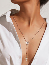 Load image into Gallery viewer, Grey Cross Beaded Silver Pendant Lariats Necklace