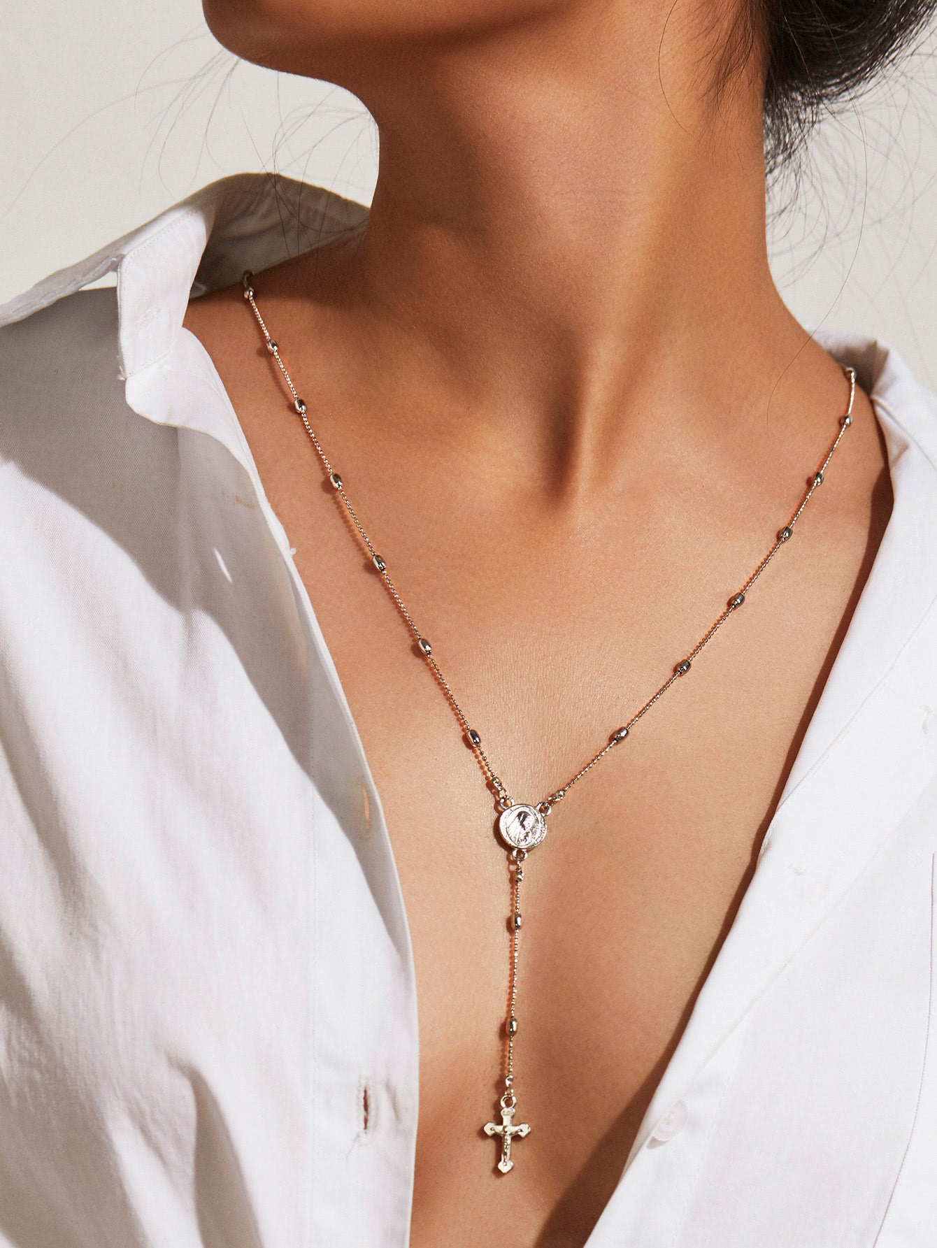 Grey Cross Beaded Silver Pendant Lariats Necklace