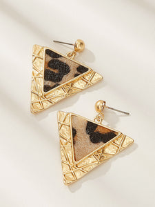 Triangle Golden Leopard Textured 1 Pair Dangle Earrings