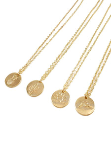 4pcs Golden Round Pendant Chain Necklace Set