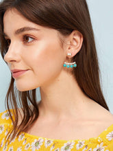 Load image into Gallery viewer, Golden Rhinestone & Turquoise Engraved 1 Pair Ear Jacket