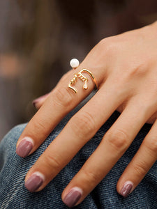 Golden Cuff Ring With White Faux Pearl 1pc