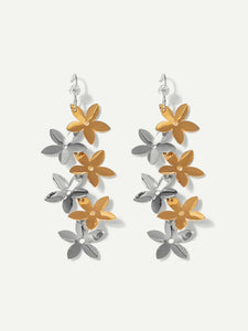1 Pair Silver And Golden Flower Shaped Dangle Earrings