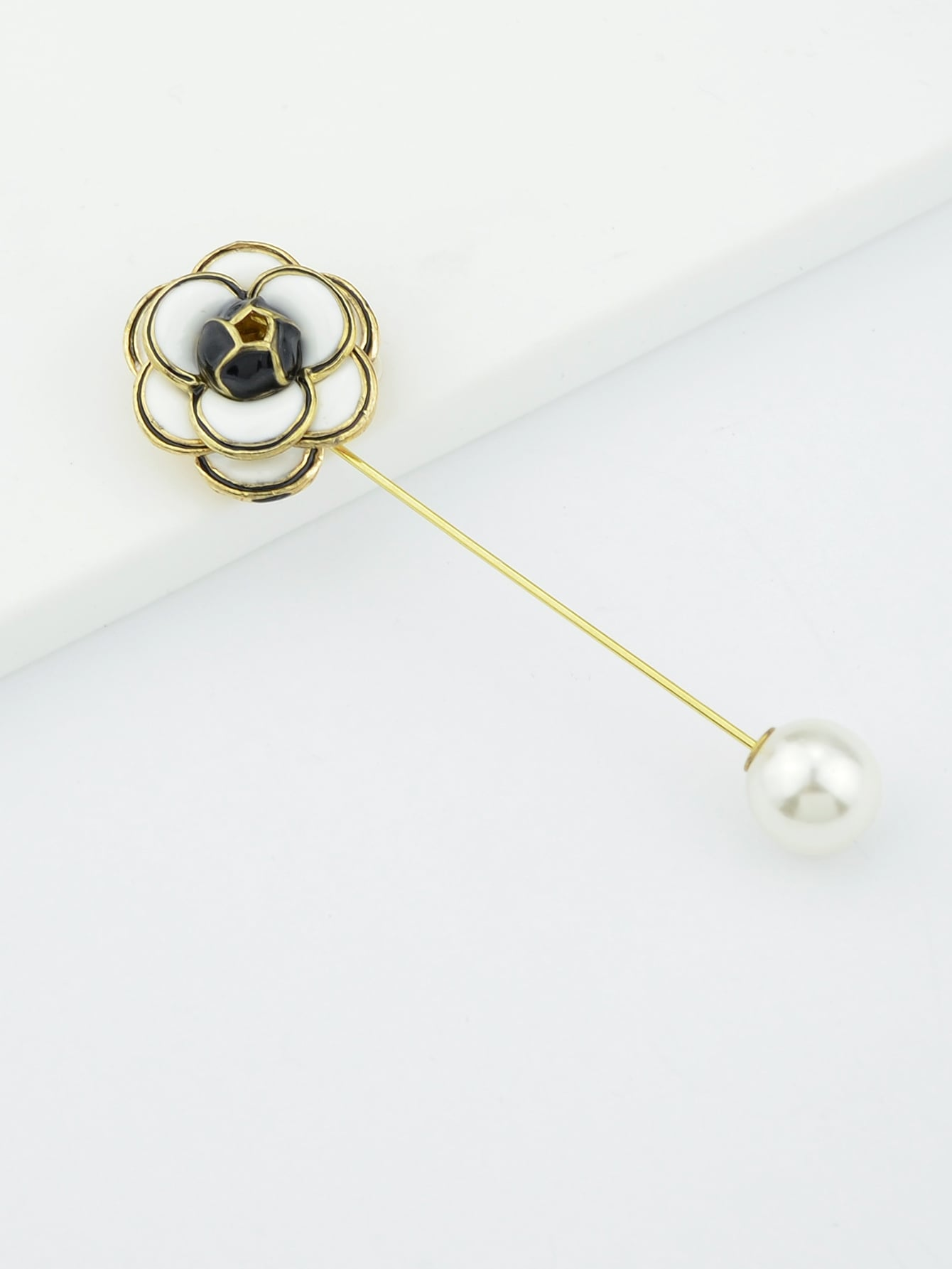 White Flower Enamel With Simulated-Pearl Brooch
