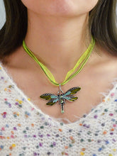 Load image into Gallery viewer, Multicolored Green Diamond Dragonfly Pendent Necklace