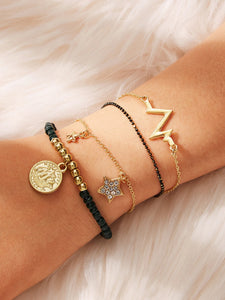 Black And Golden Coin & Star Charm 4pcs Bracelet Set
