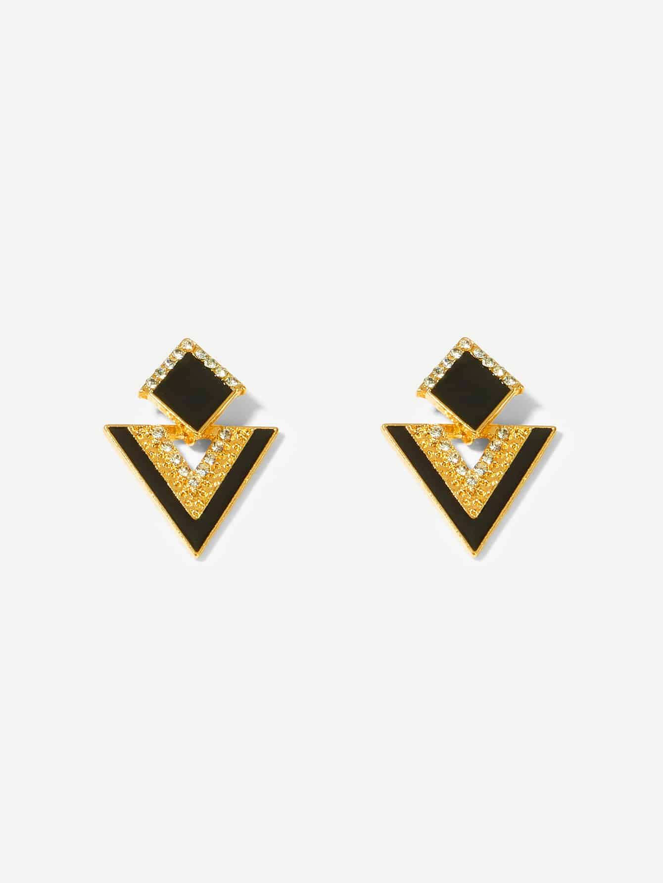 Black And Yellow Geometric Rhinestone Engraved 1pair Stud Earrings