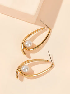 Golden Faux Pearl Decor 1pair Alloy Cut Hoop Earrings