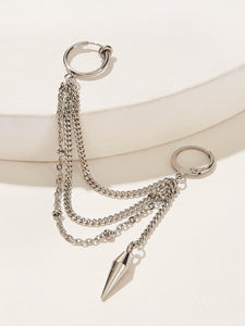 1pc Grey Chain Earring Spike Detail With Ear Cuff