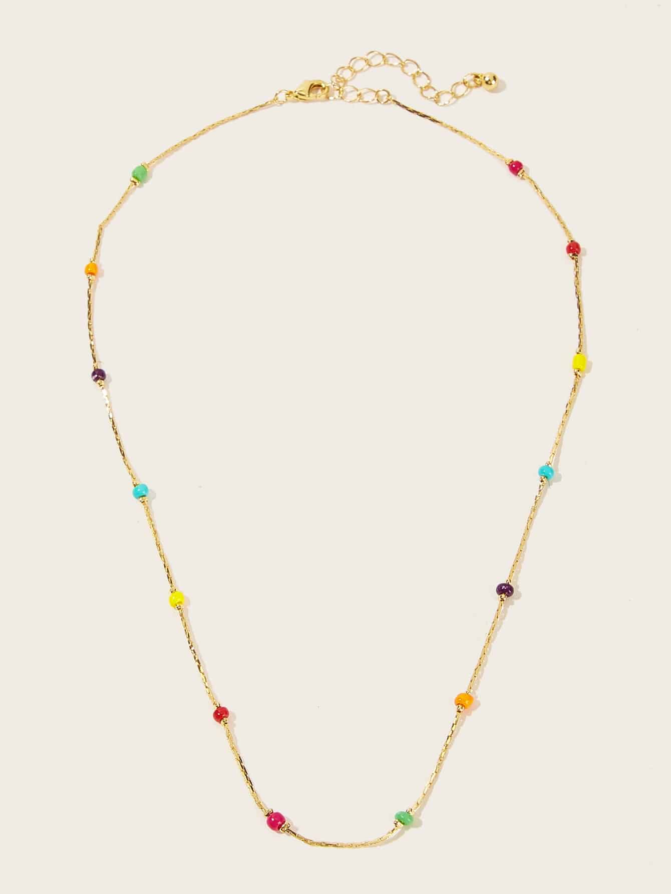 Multicolored Beads On Golden Chain 1pc Necklace