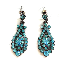 "Load image into Gallery viewer, 1.5"" Long Aquamarine Crystal Earrings With Nickel and Lead Metal"