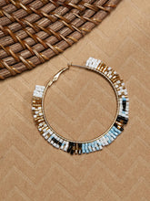 Load image into Gallery viewer, Multicolored Beaded With Gold Tone Large Hoop Earrings