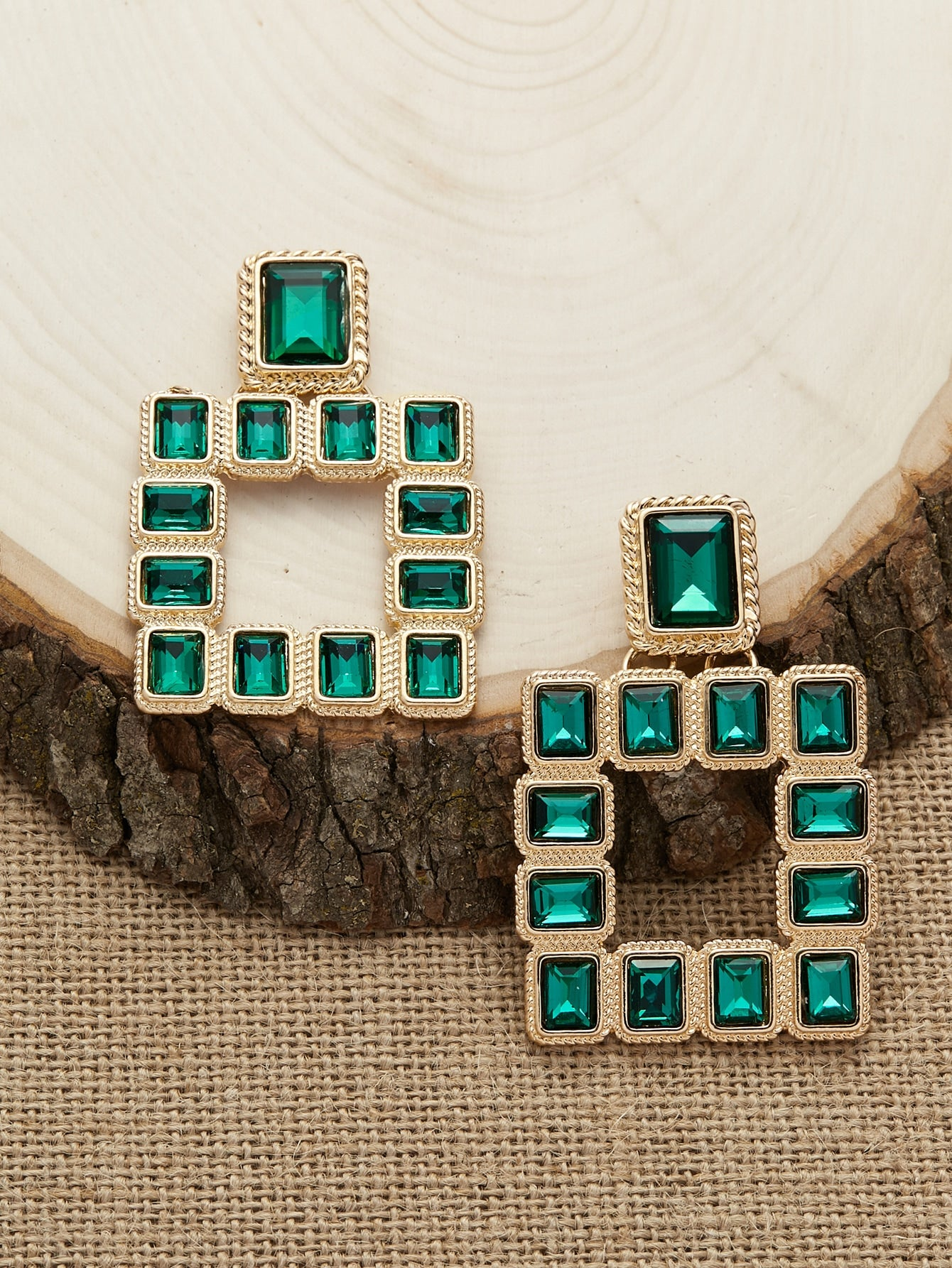 Multicolor Emerald Rhinestone Silver Square Stud Dangle Earrings