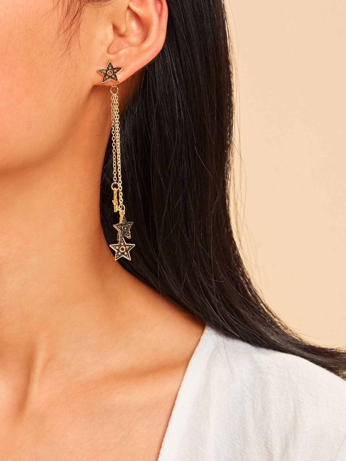 Golden Chain Drop Star Pendant 1 Pair Earrings Jacket