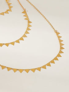 Golden 1pc Triangle Decor Metal Layered Chain Necklace