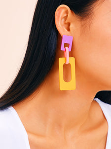 Multicolor Double Open 1pair Rectangle Drop Dangle Earrings