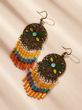 Load image into Gallery viewer, Multicolor 1pair Hollow Round Beaded Tassel Drop Dangle Earrings