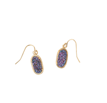 Load image into Gallery viewer, Alicia Gold Oval Druzy Earrings Over Sterling Silver Wires