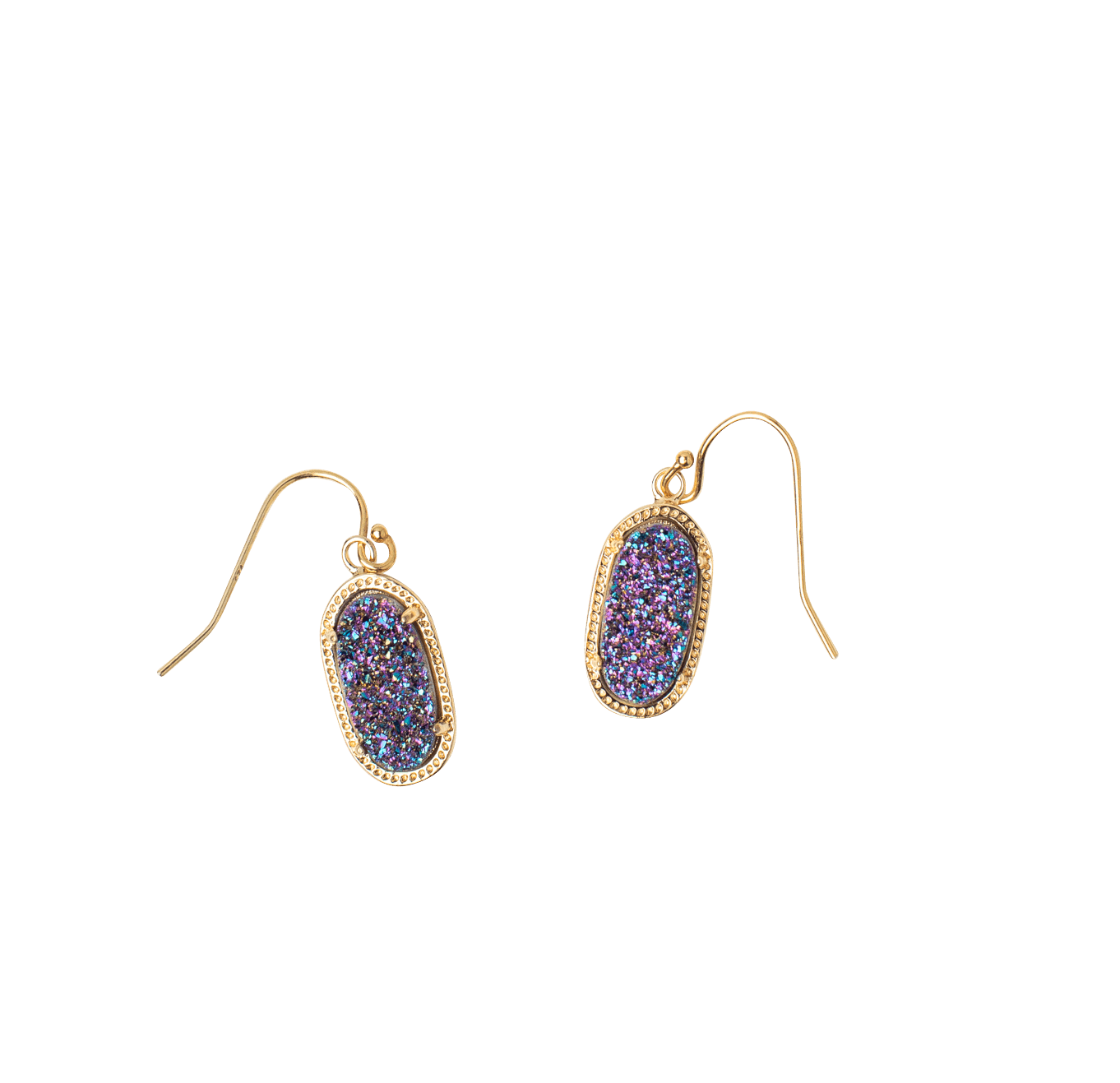 Alicia Gold Oval Druzy Earrings Over Sterling Silver Wires