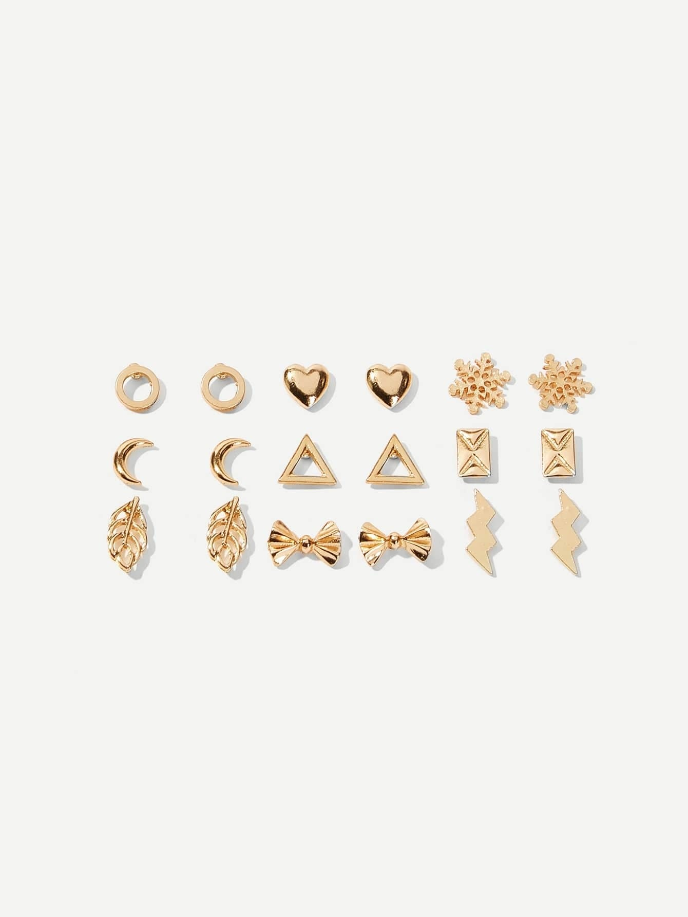 Golden 9pairs Heart & Snowflake Alloy Stud Earrings