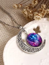 Load image into Gallery viewer, Multicolored Moon Sun Pendant Silver Necklace