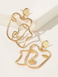 Golden Figure Shaped 1pair Open Drop Dangle Earring