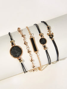 Black And Golden Bar & Anchor Bracelet Set 5pcs