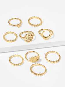 9pcs Gold Heart & Moon Metal Ring