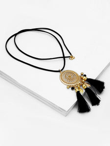 Black Hollow Gold Pendant Necklace