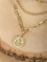 Load image into Gallery viewer, Triple Layered Golden Coin Pendant Chain Necklace