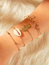 Load image into Gallery viewer, Golden Shell & Pineapple Charm 4pcs Chain Bangle Bracelet