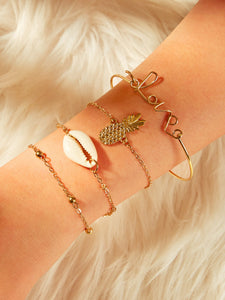 Golden Shell & Pineapple Charm 4pcs Chain Bangle Bracelet