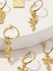 Golden Cross & Square Charm Hoop Drop Dangle 3 Pair Earrings
