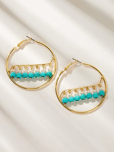 Blue Faux Pearl Oversized Golden Hoop Earrings 1 Pair