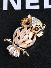 Load image into Gallery viewer, Golden Rhinestone Owl Shaped Brooch