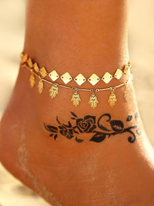 2pack Golden Hand & Disc Decor Alloy Chain Anklet