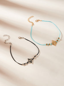 Multicolored Bee Decor 2pcs Anklet Set