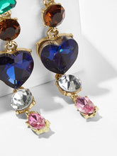 Load image into Gallery viewer, Multicolored Rhinestone Heart Detail 1 Pair Dangle Earrings