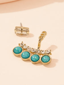 Golden Rhinestone & Turquoise Engraved 1 Pair Ear Jacket