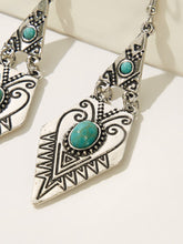 Load image into Gallery viewer, Multicolor 1pair Turquoise Decor Textured Metal Drop Dangle Earrings